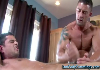 hunky gay pornstar makes gay cum