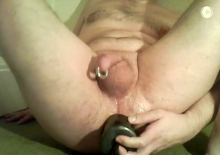 big sex toy deep anal with 8g pa piercing