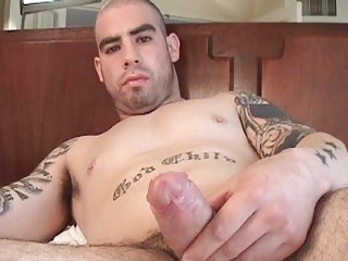 hairless fat gay fellow jerks off his ramrod