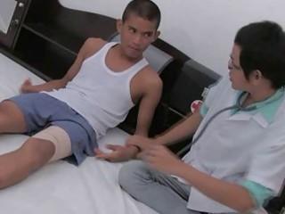 homo doctor taking advances on cute asian guy