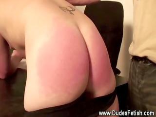 bondman acquires spanked until his gazoo is red