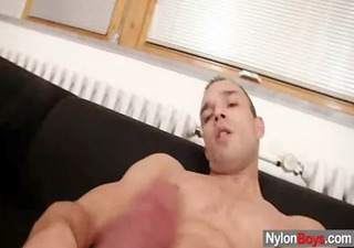 a gay cums on stockings