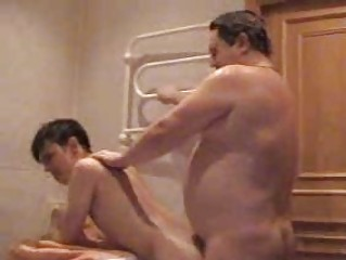 plump homo dad bangs his young twink in bathroom