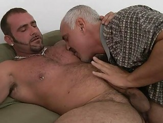 mature homosexual dad and tattooed hunk having