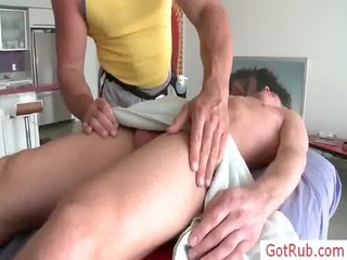 golden-haired acquires his balls oiled for