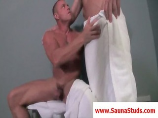 blond homosexual gives fellatio sex in a 7some