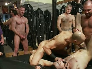 tattooed homosexual stud receives bound and