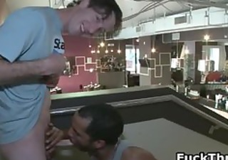 white lad receives weenie sucked by dark gay