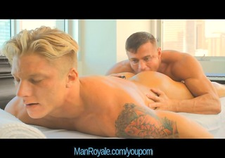 manroyale hot blonde hunk receives rubbed down