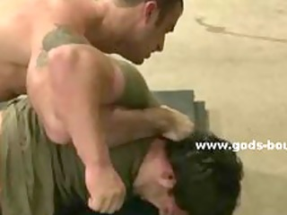 powerful full of muscles army trainee acquires in