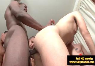 bukkake homosexual lads - nasty bareback facial