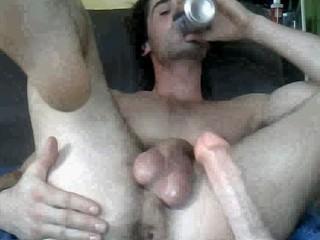 homo lad using a sex tool