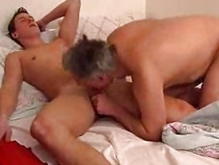 older gay daddy gives youthful lad a oral-sex in