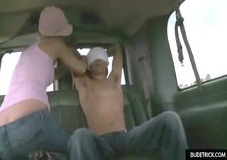 blindfolded guy gets wang sucked by lad
