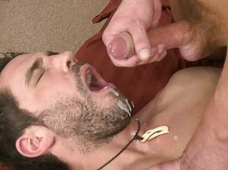 hot tattooed homo chap swallows hot cum