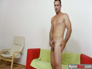 homo immodest cum explosion on nylon hose
