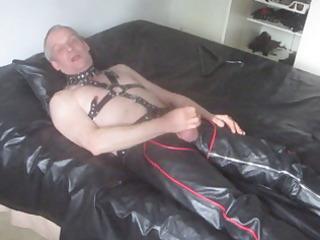 aged leather homosexual masturbates and cum