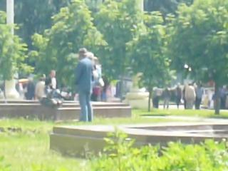 russian homeless man masturbates in the park
