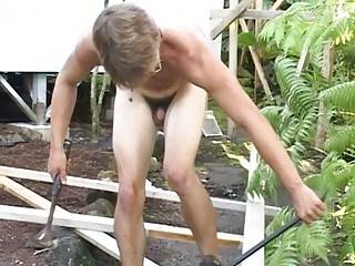 sexy homosexual stud shows his beefy body in
